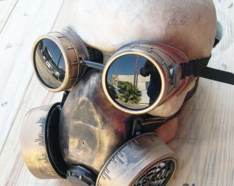 STEAMPUNK GAS MASK - 2 pc Gold/Brass-Look Distressed  Steampunk Double Filter Respirator Steampunk Mask and Matching Steampunk Goggles