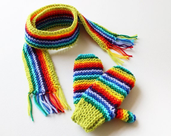 Lime Rainbow Pixie Set of Scarf and Matching Gloves - Rainbow Children's Mitts and Scarf Winter Outfit