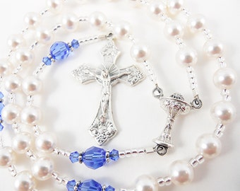 September Birthstone Sapphire - Personalized Rosary - Baptism, First Communion, or Confirmation