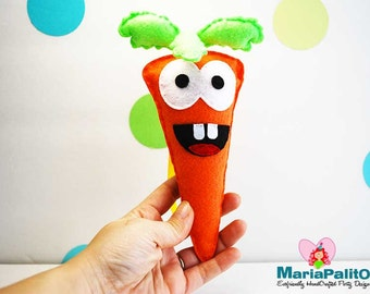 Happy Carrot Sewing pattern, Felt baby Happy carrot, baby toy, Healthy toy A966