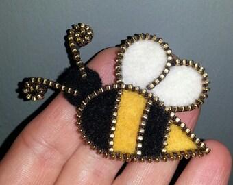 Zipper/Recycled Felted Wool Sweater Zipper Brooch- Bee with Brass Zipper