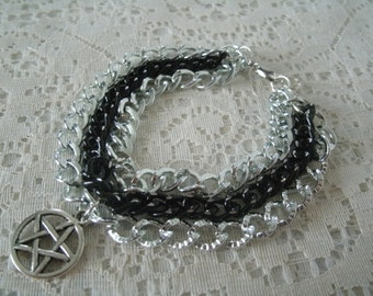 Pentacle Chain Bracelet, wiccan jewelry pagan jewelry wicca jewelry witch goddess metaphysical witchcraft pentagram magic wiccan bracelet