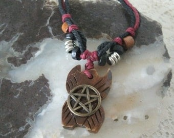 Bone Pentagram Necklace, wiccan jewelry pagan jewelry wicca jewelry witch witchcraft pentacle metaphysical magic new age wiccan necklace