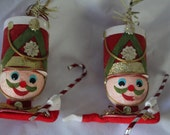 Soldier Christmas Ornament  Made in Japan Candy Cane -Two