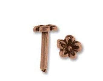 Daisy Rivet in Antique Copper  Piece- 10 Pieces  8 x 1.5 mm  mm For Leather Work or Use Alone