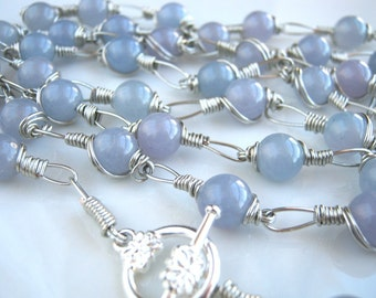 Silver and Blue Stone Chain Necklace Blue Chain Necklace Blue Necklace (37.5 inches)