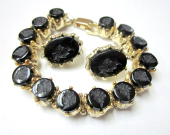 Vintage Black Glass Cameo Bracelet Set Clip Earrings Gold Cameo Jewelry Set Gift for Her Gift for Mom Gift under 75 Gift Idea