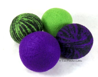 Wool Dryer Balls - Boys Night Out - Set of 4 - Eco Friendly - Can Be Scented or Unscented