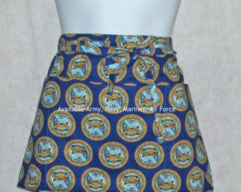 US Army Waist Apron, Craft Show, Vendors, Half, Wedding Dance Apron, Gardening Apron, No Shipping Charge, Ready To Ship TODAY, AGFT 493