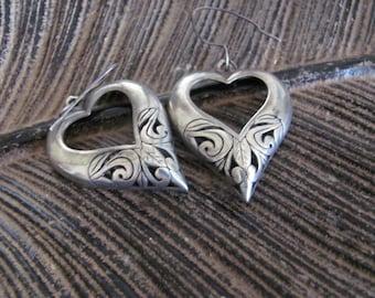 Pair of Vintage Sterling Silver Heart Shaped Earrings