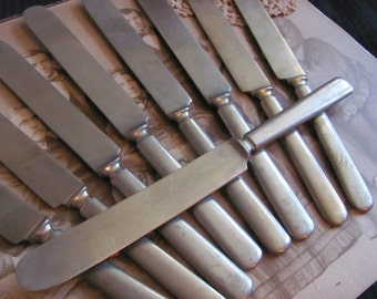 Lot of 10 Assorted Heavy Nickel Plate French Blade Dinner Knives