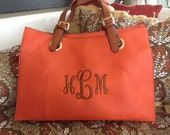 Monogrammed Kimmie Purse - Tangerine with Brown Handles