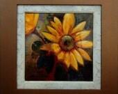 Sunflower. 16in x 16in. (canvas) Framed (28in x 28in) Acrylic painting on canvas with high gloss epoxy.