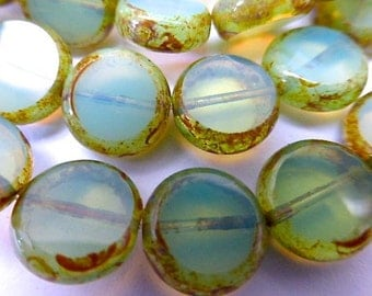 15 Czech Glass Flat Round Disc Beads in Cloudy Translucent Light Green Opal with Picasso Edges  Size 11mm