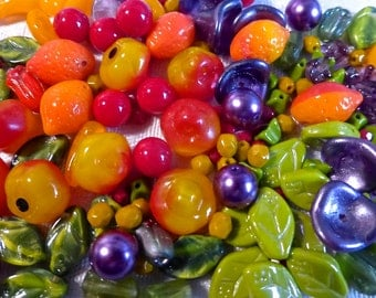 Czech Glass Carmen Miranda Bead Mix with Fruit Beads  128 Beads