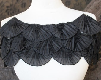 Nice ruffled  applique yoke black  color 1 pieces listing  20 long  7 wide
