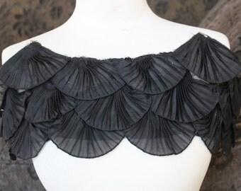 Nice ruffled  applique yoke black  color 1 pieces listing  20 long  7 wide