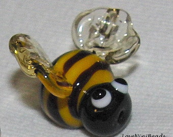 Lampwork Bee Bead - Fairy Garden Lampwork Glass - Georgia Tech