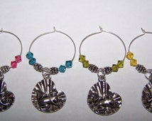 Lilypad Frog Wine Glass Charms / Frog Drink Markers