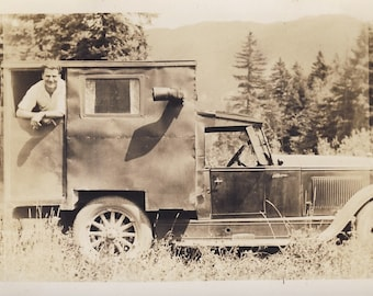 HOMEMADE CAMPER on the Back of an Old TRUCK Photo Circa 1930s