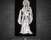 Santa Muerte Holy Death - Black Canvas Patch