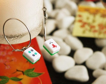 Chinese Mahjong earrings