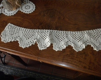 Vintage Hand Crocheted 22 Inch Piece of Edging