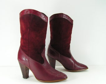 vintage cowboy boots womens 6 b m burgundy suede leather high heel western cowgirl