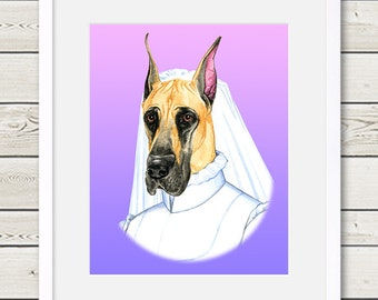 Great Dane Art - Great Dane Bride Dog Portrait Painting - Wedding Dog Art, modern dog home decor, dog gift