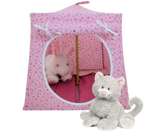 Toy Pop Up Tent, Sleeping Bags, light pink, star print fabric for stuffed animals, dolls