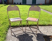 Vintage Metal Folding Chairs (2) 1940s 1950s Era Hampden Industrial Decor