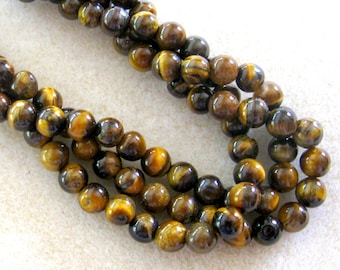 Tiger Eye, Gemstone Beads, Full Strand, Bead Supplies, Craft Supplies, Jewelry Supplies, Semi Precious, Jewelry Making Beads, Design,  6mm