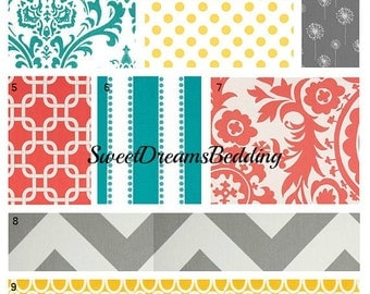 Custom Crib Bedding You Design   Bumper and Bedskirt in Gray,Coral,Turquoise and Yellow