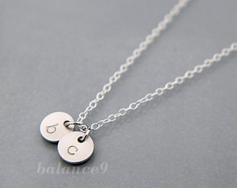 Silver Initial Necklace, Personalized Stamped Disc Charm Pendant, Lowercase, sterling chain, everyday jewelry holidays gift by balance9