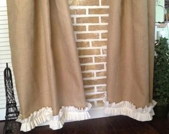 Burlap - Cotton Ruffles - Burlap Curtain Panel - In Natural Tan