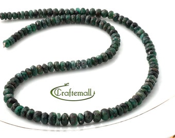 """SALE: Emerald 7x4mm - 4x2mm faceted rondelle - 40mm (15 1/2"""") graduated strand"""