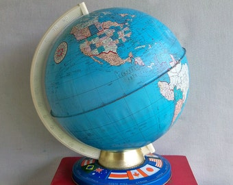 "1960s Ohio Art 9"" Metal Litho Globe ""The Perfect Distressed Vintage Patina"""