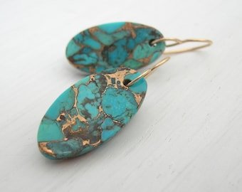 Turqouise Infused Bronze Earrings - Turquoise Jewelry - Turquoise Earrings - December Birthstone