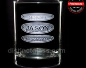 Groomsmen Glasses - TRIPLE OVAL WHISKEY Glass - 13.5 oz Etched Whiskey Glasses by Distinct Glass Studio - Ships to Canada