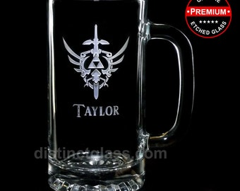 Legend of ZELDA Glasses Gifts -TRIFORCE MASTER Sword Beer Mugs - 16 oz Etched Glasses - Zelda Beer Mug - by Distinct Glass Studio