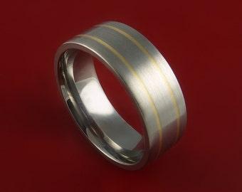 14K Yellow Gold Titanium Ring Custom Made Wedding Band Any Size and Finish 3-22