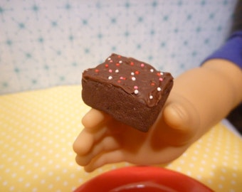 Miniature Frosted Chocolate Brownie for American Girl AG Doll 1:3 scale