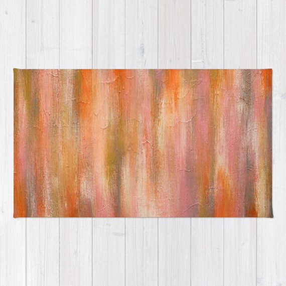 Orange and Pink Area Rug Modern Home Goods by LizMosLoft on Etsy