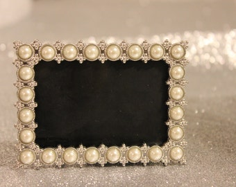 set of 10 pearl frames frame mini table numbers chalkboard or glass photo picture jeweled vintage style glam favors placecards seating name