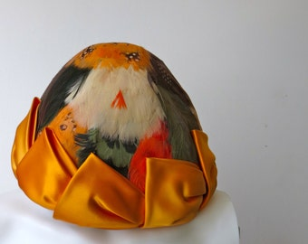 Fantastic Custom made Paul Bensam 1960s Multicolored Feather Hat