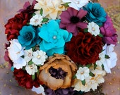 Rustic Vineyard Inspired  Paper Bouquet - Deep Red and Shades of Teal  - Customize your Style and Colors - Made To Order