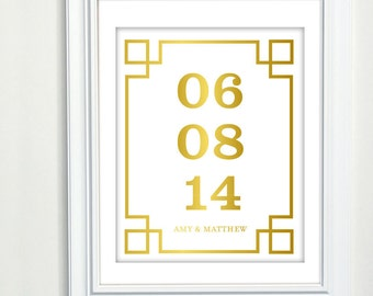 Gold Foil Print, Important Date Art, Personalized Engagement Gift for couple, Personalized Wedding Gift, Gold decor, Wedding Gift Keepsake