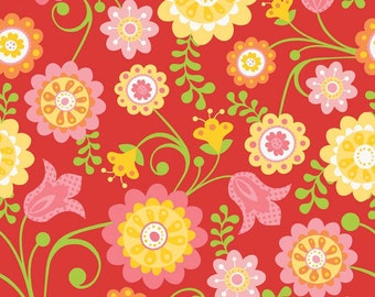 Riley Blake Hello Sunshine Red Main Cotton Fabric - 1 yard