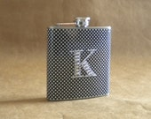 Personalized Gift Flask Black with Small White Polka Dots Print with ANY Rhinestone Initial 6 ounce Stainless Steel Flask KR2D5684
