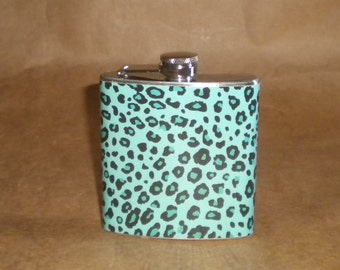 Ladies Gift on SALE Teal and Black Cheetah Print 6 ounce Stainless Steel Girl Gift Flask KR2D 7157